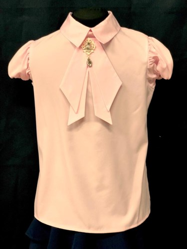 AGATKA блузка кроткий рукав, съёмный галстук, розовый (р.128-158) 6 шт. - фото 23087