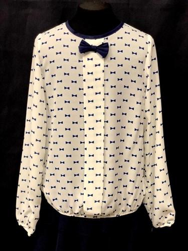 SLY блузка дл.рук. кремовая (бантики)(р.128-170) - фото 23092