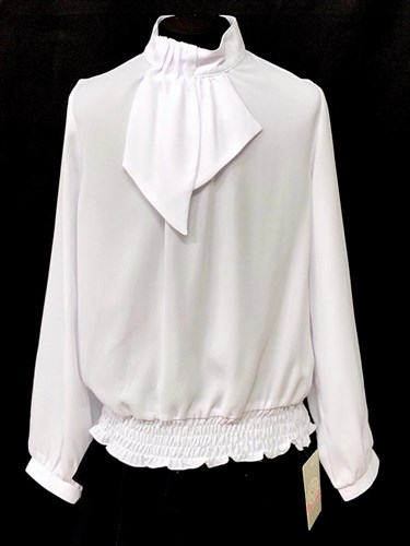 SLY модель 107 блузка длинный рукав, белая (р-ры134-158) 5 шт. - фото 23094