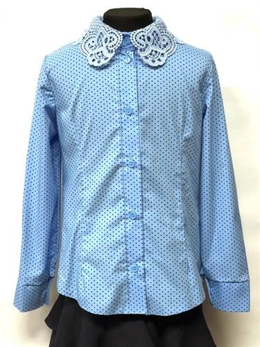 блузка ЛЮТИК модель 20182 длинный рукав, голубая (рост128,134,140,146,152) - фото 23161