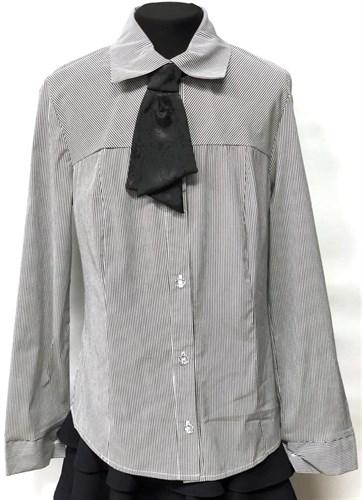 блузка ЛЮТИК модель 20152/1 длинный рукав, галстук, серая (рост146,152,158,164,170) - фото 23165