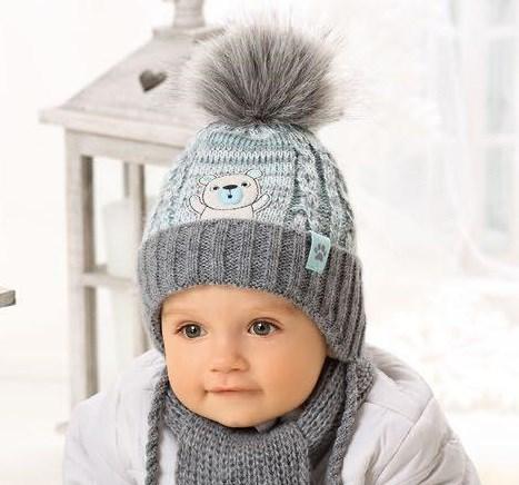 .AJS комплект 38-416 шапка для мальчика подклад флис+шарф (р.40-42) - фото 23338