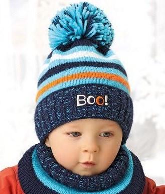 .AJS комплект 38-448 шапка для мальчика подклад флис+снуд (р.46-48) - фото 23580