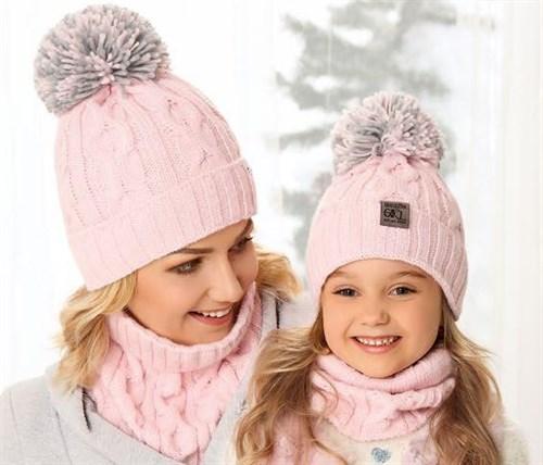 .AJS комплект 38-450 шапка вязка подкл.флис+ снуд (р.50-52) дочка - фото 23582