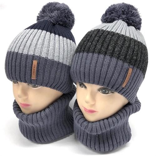 AGBO комплект 2330 Polo  шапка вязка на флис. подкл.+ снуд (р.48-50) - фото 24008