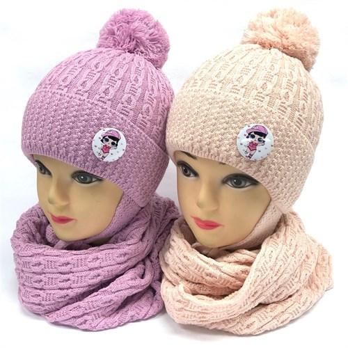 LVG комплект: шапка с утеплителем, подклад хлопок + снуд (р.48-50) - фото 24528