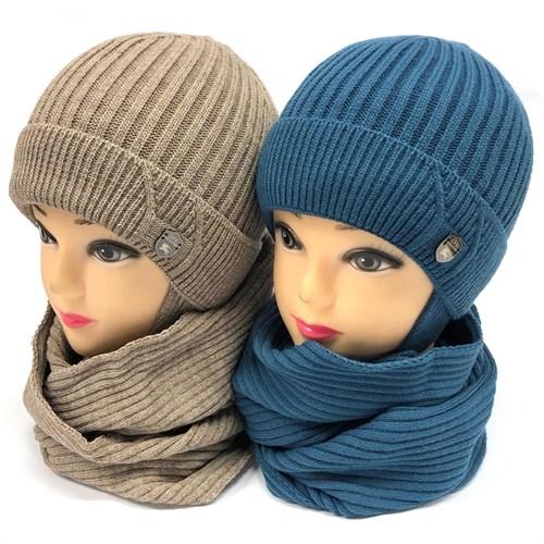 LVG комплект: шапка с утеплителем, подклад хлопок + снуд (р.48-50) - фото 24532