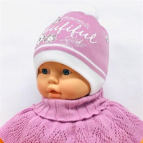 LVG комплект:  шапка с утеплителем, подклад хлопок + манишка (р.42-44) - фото 24568