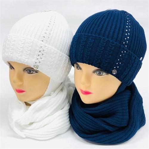 LVG комплект  шапка с утеплителем, подклад хлопок + снуд (р.46-48) - фото 24584