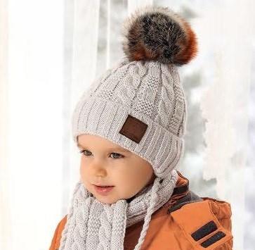 .AJS комплект 38-477 шапка для мальчика (р.48-50) подклад флис + шарф - фото 25099
