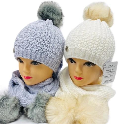 AGBO комплект 2267 Alama шапка двойная вязка, подклад полоска флиса + шарф (р.50-52) - фото 26306