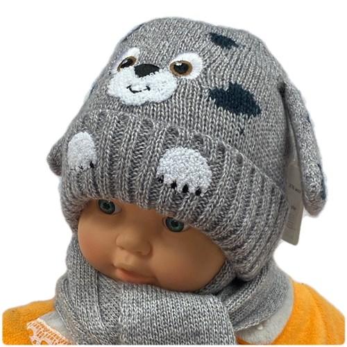 amal комплект, шапка вязаная, подклад флис + шарф (р.48-50) собака - фото 26569