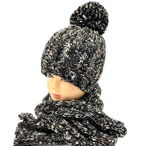 .AJS комплект 38-526 шапка для мальчика двойная вязка + шарф (р.54-56) - фото 26778