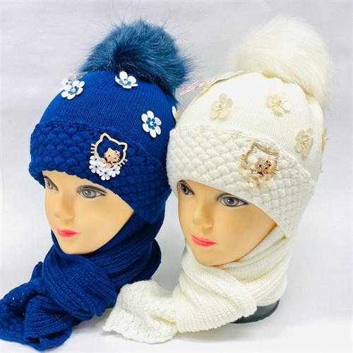 LVG комплект: шапка с утеплителем, подклад хлопок + шарф (р.48-50) - фото 26785