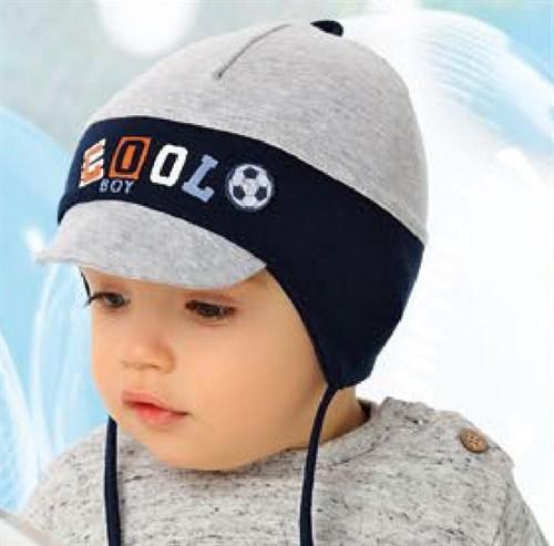 .AJS шапка c козырьком 40-053 двойной трикотаж (р.48-50, 52-54) - фото 27188