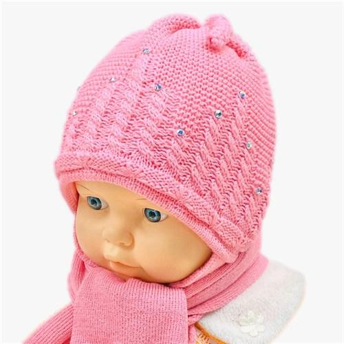 GRANS комплект A 521 шапка вязаная, подклад флис + шарф (р.38-40) розовый - фото 27944