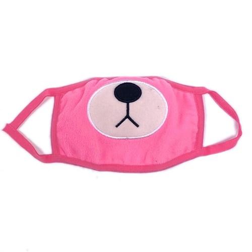 маска на лицо (флис+трикотаж) д/д, розовая - мишка - фото 28288