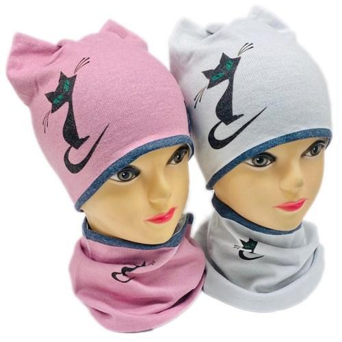 ambra комплект шапка двойной трикотаж + снуд (р.50-54) - кошка - фото 28307