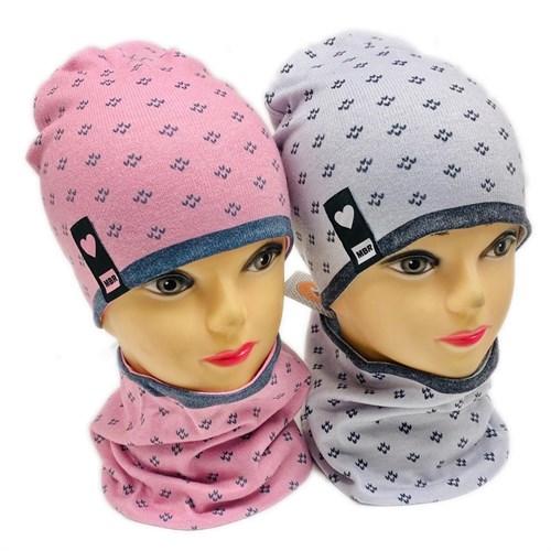 ambra комплект шапка двойной трикотаж + снуд (р.50-54) галочки - фото 28321