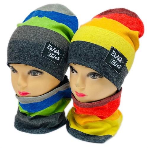 ambra комплект шапка двойной трикотаж + снуд (р.50-52) black black - фото 28359