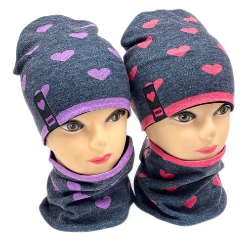 ambra комплект шапка двойной трикотаж + снуд (р.50-54) Love - фото 28368