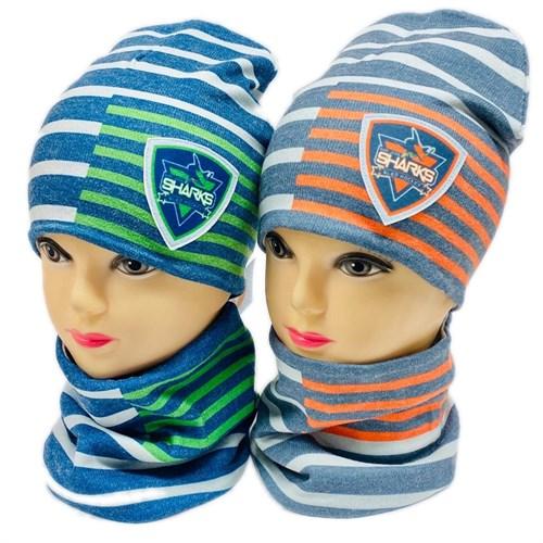 ambra комплект шапка двойной трикотаж + снуд (р.50-54) Sharks - фото 28857