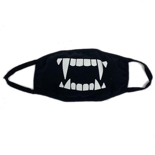 маска на лицо (трикотажная двухслойная) рисунок- зубы черная - фото 28972