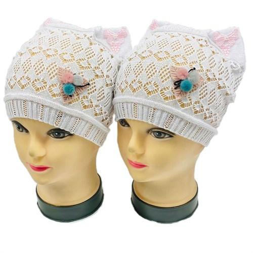 ажурная вязка шапка Кошечка 3 Цветочка (р.48-52) - фото 30176