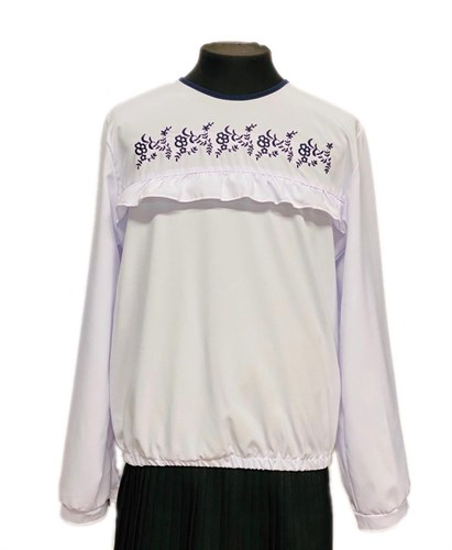 Catherine блузка длинный рукав, вышивка,белая (р.128-158) - фото 30325