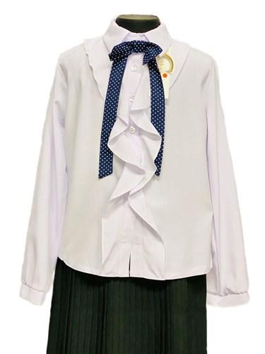 Catherine блузка длинный рукав на пуговицах с жабо,белая (р.128-158) - фото 30332