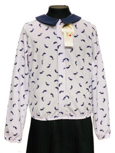 Catherine блузка длинный рукав с резинкой, дельфины, белая (р.128-158) - фото 30336