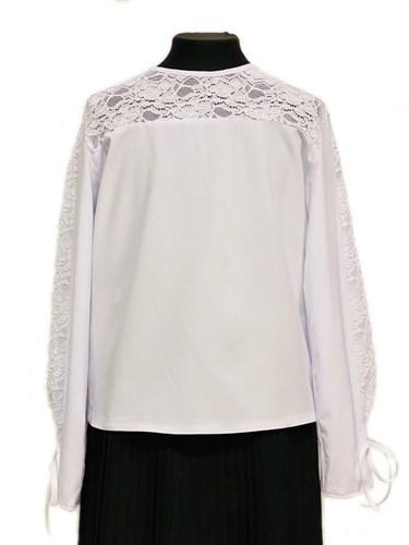 Catherine блузка длинный рукав,прямая,белая (р-ры128-158) - фото 30337