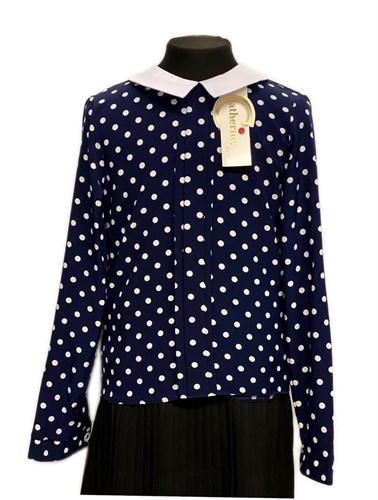 Catherine блузка длинный рукав, прямая, мелкий горох, синяя (р-ры128-158) - фото 30341
