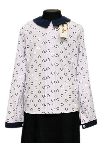 Catherine блузка длинный рукав, прямая, круги, белая (р-ры:128-158) - фото 30343