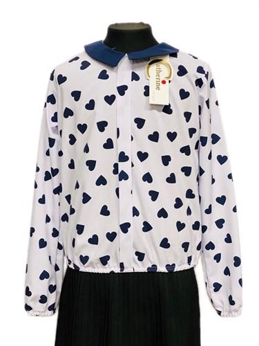 Catherine блузка длинный рукав, на резинке, сердца, белая (р.128-158) - фото 30345