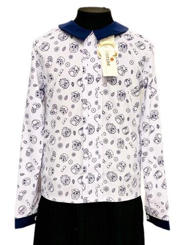 Catherine блузка длинный рукав, прямая, совы, белая (р-ры128-158) - фото 30346