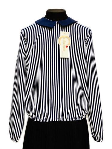 Catherine блузка длинный рукав, на резинке, полоски (р.128-158) - фото 30356