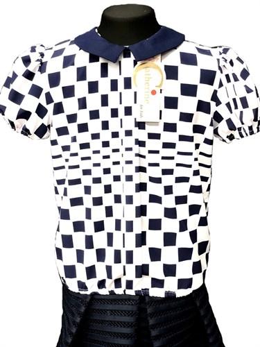 Catherine блузка кор.рук. с резинкой, шахматы, белая (р.128-158) - фото 30361