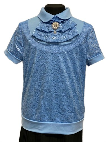 блузка ЛЮТИК модель 20195 короткий рукав, жабо, голубая (рост 128,134,140,146,152) - фото 30761