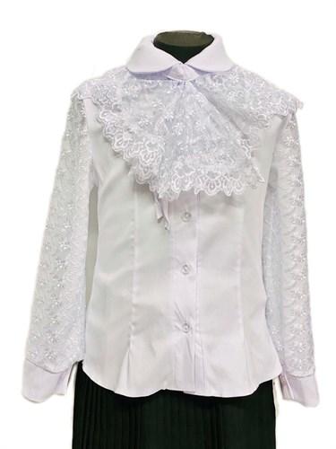 блузка ЛЮТИК модель 20180 длинный рукав, белая (рост 128,134,134,140,140) - фото 30770