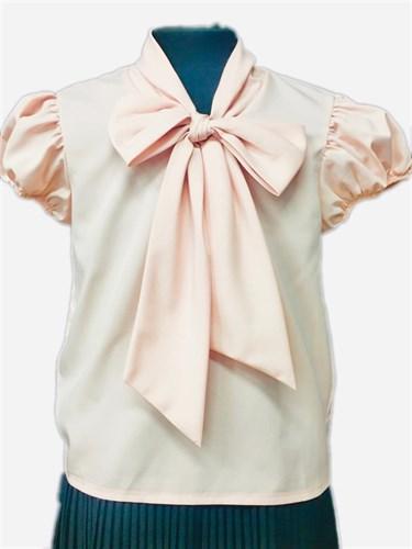 AGATKA блузка короткий рукав с бантом, персиковая (р-р128-158) - фото 30798