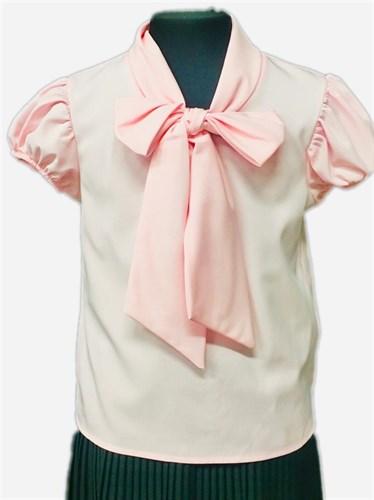 AGATKA блузка короткий рукав с бантом, розовая (р-р128-158) - фото 30799