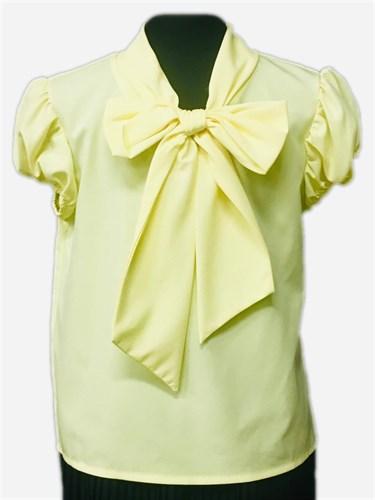 AGATKA блузка короткий рукав с бантом ,желтая (р-р128-158) - фото 30800