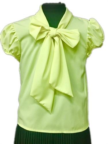 AGATKA блузка короткий рукав с бантом лимонная (р-р128-158) - фото 30801