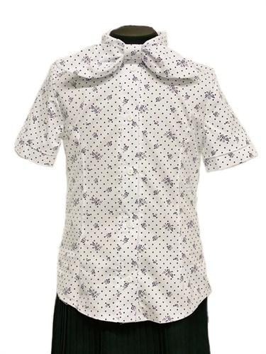 блузка ЛЮТИК модель 20201 короткий рукав, белая (рост128,134,140,146,152) - фото 30802