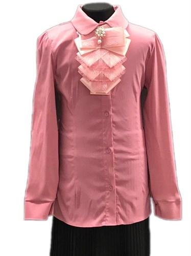 блузка ЛЮТИК модель 20168 длинный рукав, жабо, розовая (рост128,134,140,146,152) - фото 30804