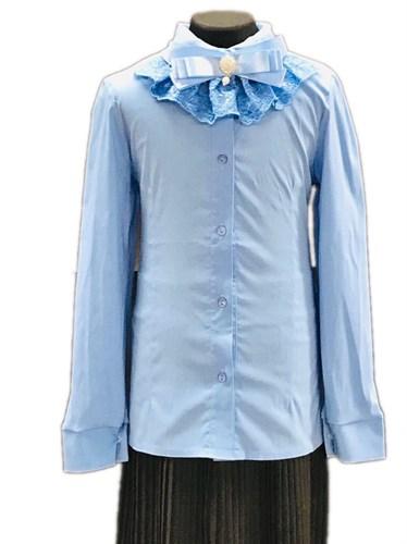 блузка ЛЮТИК модель 20175 длинный рукав, бант, голубая (рост128,134,140,146,152) - фото 30805