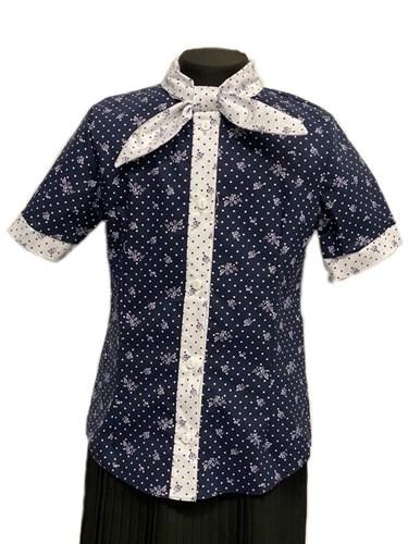 блузка ЛЮТИК модель 20201 короткий рукав, синяя (рост128,134,140,146,152) - фото 30810