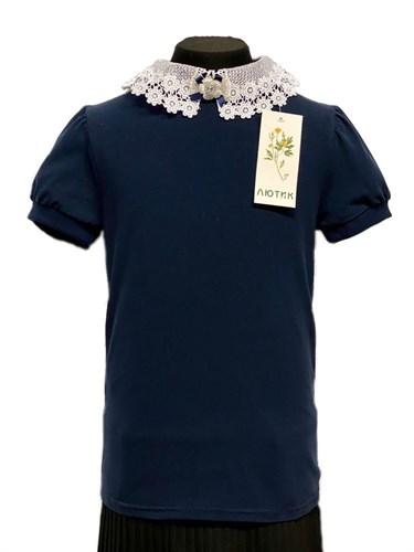 блузка ЛЮТИК модель 10109 короткий рукав трикотажная, синяя (р.128,134,140,146,152,158) - фото 30832