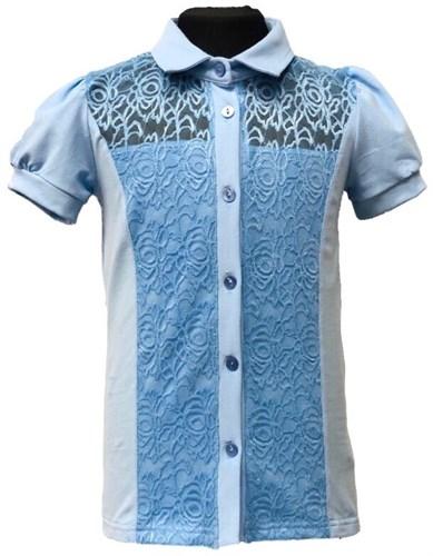 блузка ЛЮТИК модель 10113 короткий рукав, трикотажная, голубая (р.122,128,134,140,146) - фото 30990